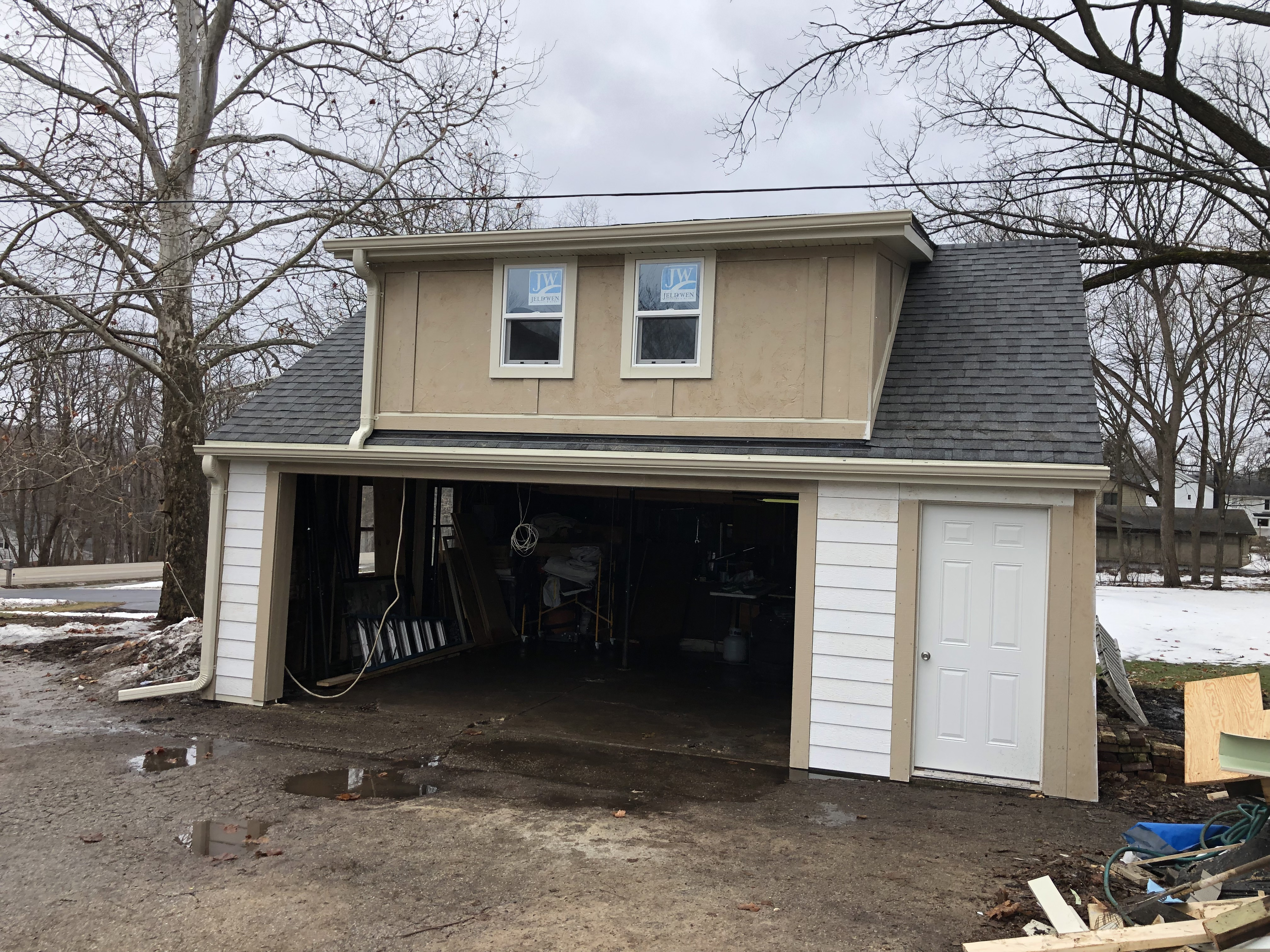 Garage Rebuild After Construction and Prior to Painting Exterior