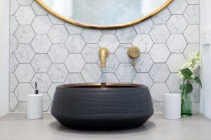hexigon tiles and dark grout